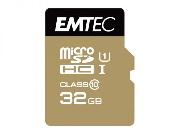 Micro SDHC Card, 32GB EMTEC Gold+ CL10 UHS-I